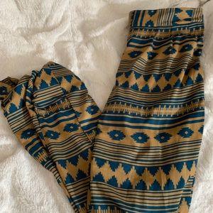 Brown and Teal Boho Pants Medium